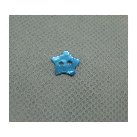 Bouton nacre étoile turquoise 10mm