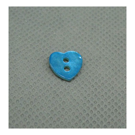 Bouton nacre coeur turquoise 10mm