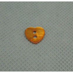 Bouton nacre coeur orange 10mm