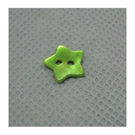 Bouton nacre étoile vert anis 10mm