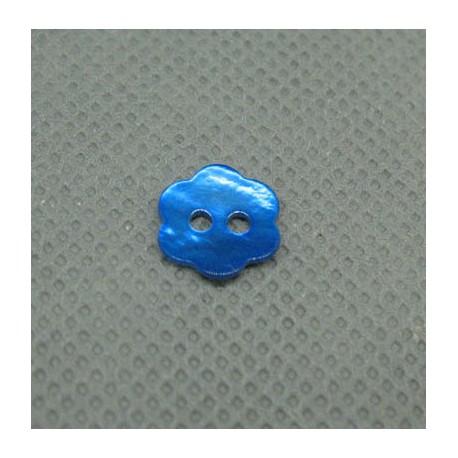 Bouton nacre fleur bleu gitane 10mm