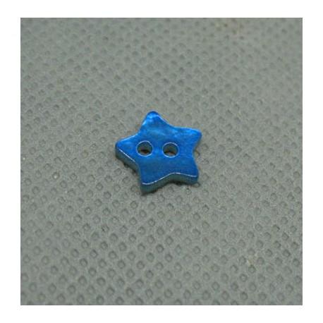 Bouton nacre étoile bleu gitane 10mm
