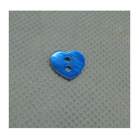 Bouton nacre coeur bleu gitane 10mm