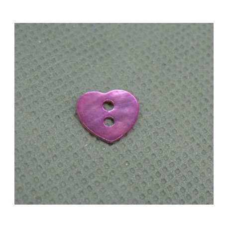 Bouton nacre coeur lilas 10mm