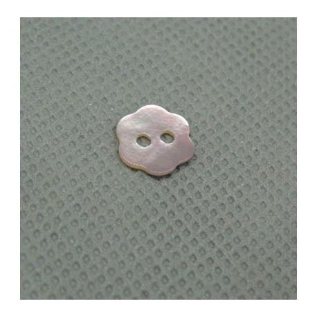 Bouton nacre fleur rose 10mm