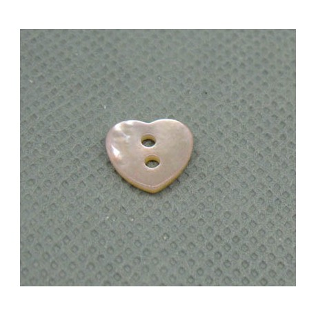 Bouton nacre coeur rose 10mm