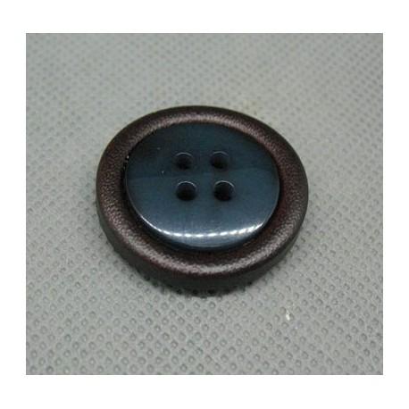 Bouton imitation cuir bleu pétrole 28mm