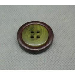Bouton imitation cuir vert 28mm