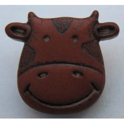 Bouton vache marron 15mm