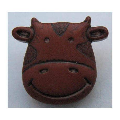 Bouton vache marron 17 mm b8