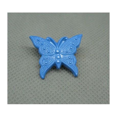 Bouton papillon bleu 25mm