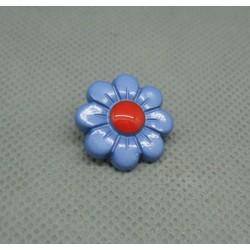Bouton fleur 8 pétales bleu rouge 18mm