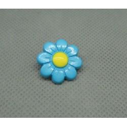 Bouton fleur 8 pétales turquoise jaune 18mm