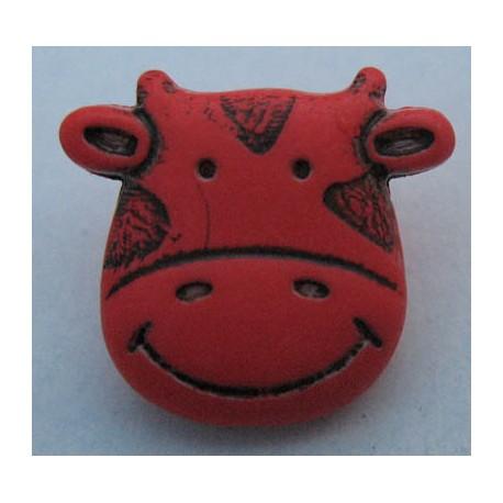 Bouton vache rouge orangé 15 mm b8