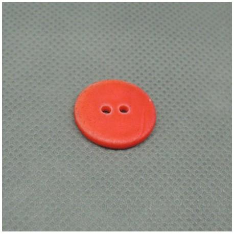 Bouton nacre rivière touché gomme orange 18mm