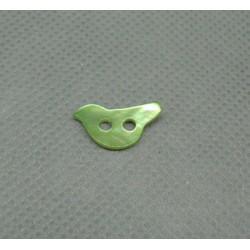 Bouton nacre oiseau vert anis 12mm