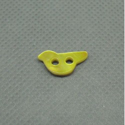 Bouton nacre oiseau jaune 12mm