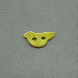 Bouton nacre oiseau jaune 12mm