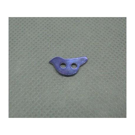 Bouton nacre oiseau violet 12mm