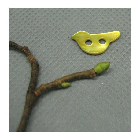 Bouton nacre oiseau jaune 15mm