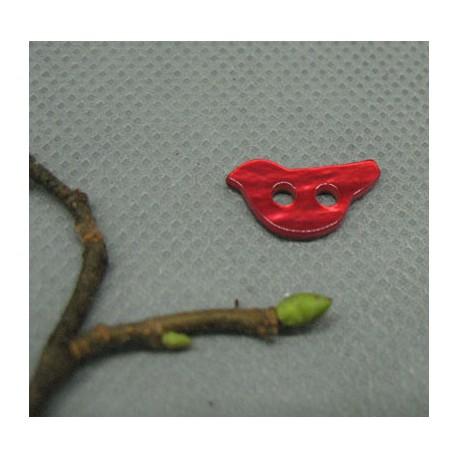 Bouton nacre oiseau rouge 15mm