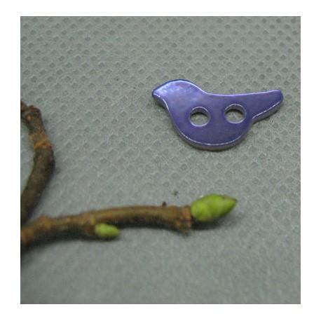 Bouton nacre oiseau violet 15mm