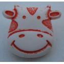 Bouton vache blanche orange 17 mm b8