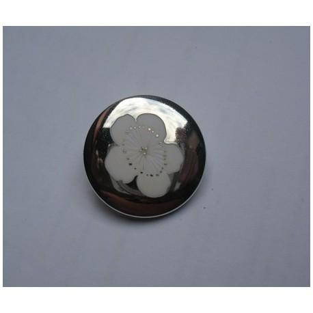 Bouton miroir fleur blanche 28mm