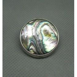 Bouton nacre ormeaux serti argent 27mm