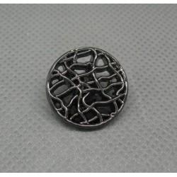 Bouton grillage métallisé vieil argent 18mm