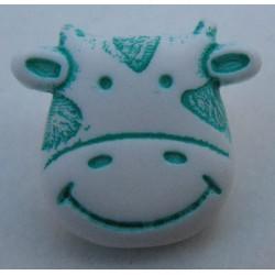 Bouton vache blanche verte 15 mm b8