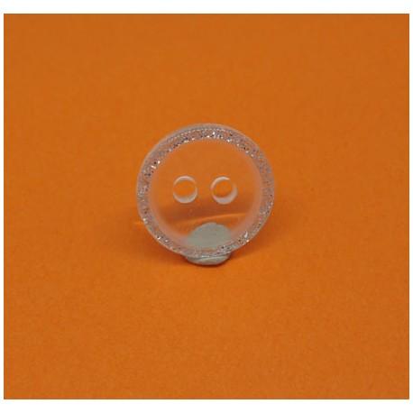 Bouton translucide bord argent 13mm