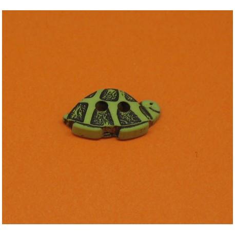 Bouton tortue vert noir 15mm