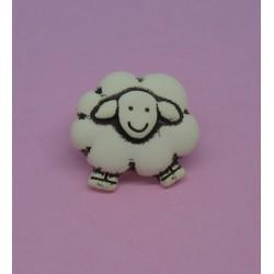 Bouton mouton écru 15mm