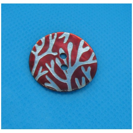 Bouton nacre corail rouge 22mm