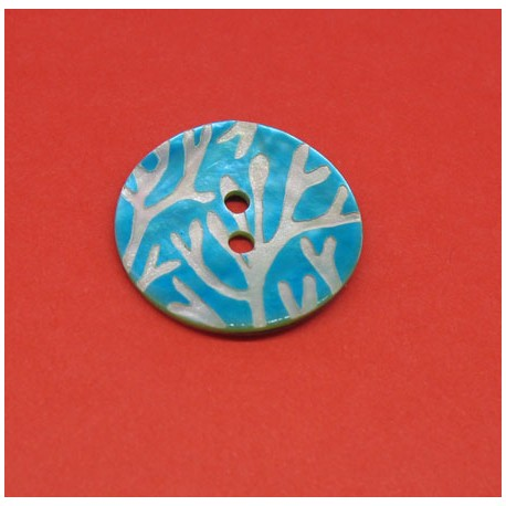 Bouton nacre corail turquoise 22mm