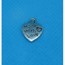 Charms 'made with love' argent 12mm