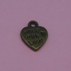 Charms coeur made with love' antique 12mm