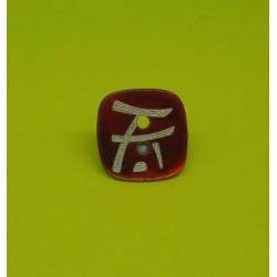 Bouton nacre carré laser rouge 15mm