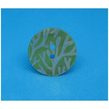 Bouton nacre corail vert anis 22mm