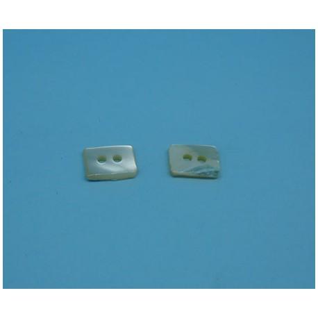 Bouton nacre rectangle 10 x 7mm
