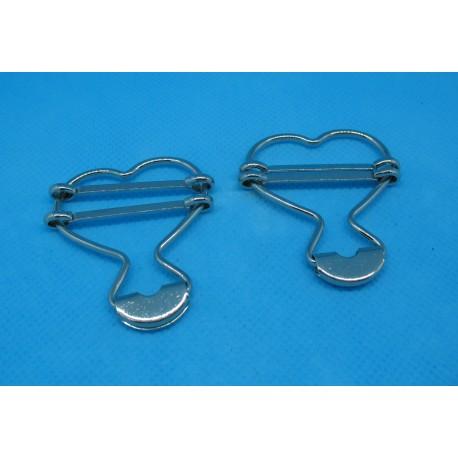 Boucle salopette coeur chromée 45mm pour passant de 33mm