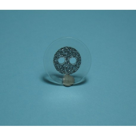 Bouton translucide fond paillettes 15mm