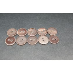 Lot 10 Boutons nacre riviere marron 13mm