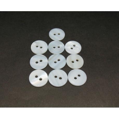 Lot 10 bouton nacre rivière argent 13mm