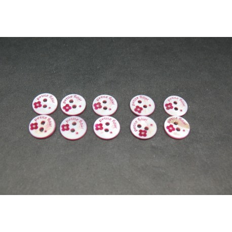 "Lot 10 boutons nacre ""petite fleur"" fuschia 9mm"