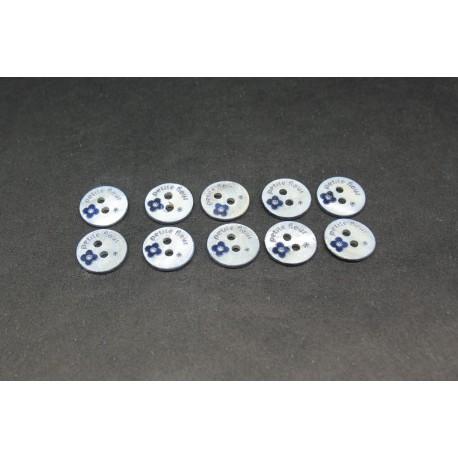 "Lot 10 boutons nacre ""petite fleur"" bleu marine 9mm"