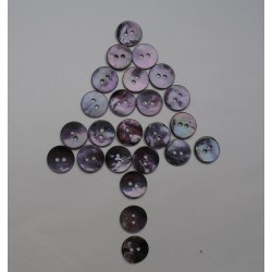 Lot 24 boutons nacre violette 13mm