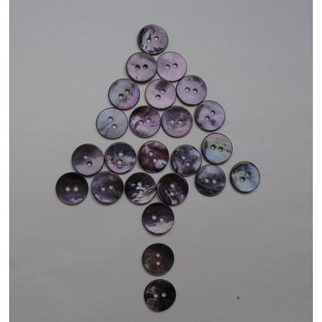 Lot 24 boutons nacre violette 13mm