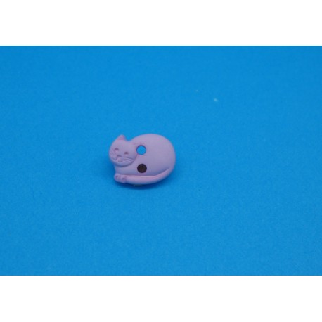 Bouton chat couché rose 12mm